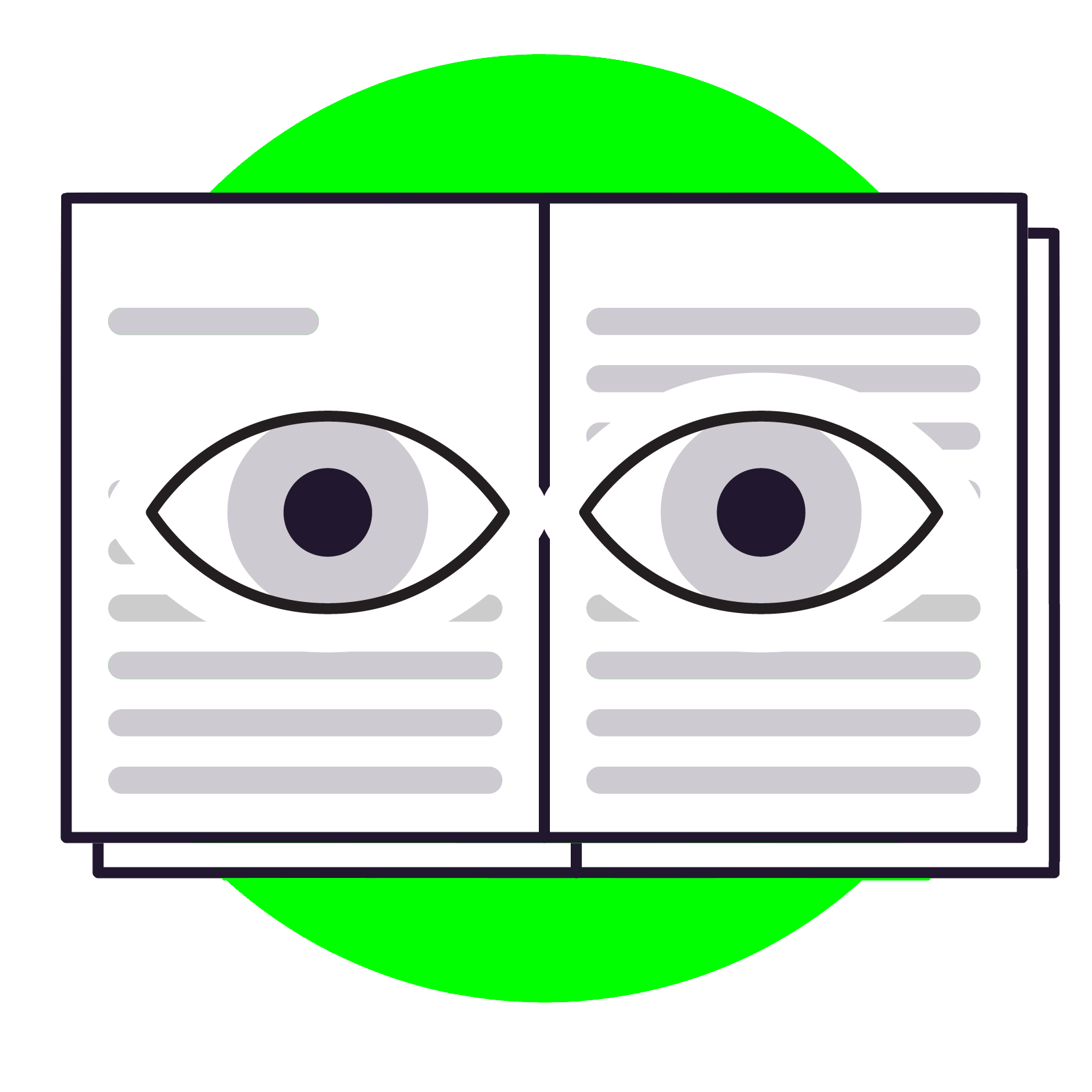 A decorative image of a human eye reviewing book pages