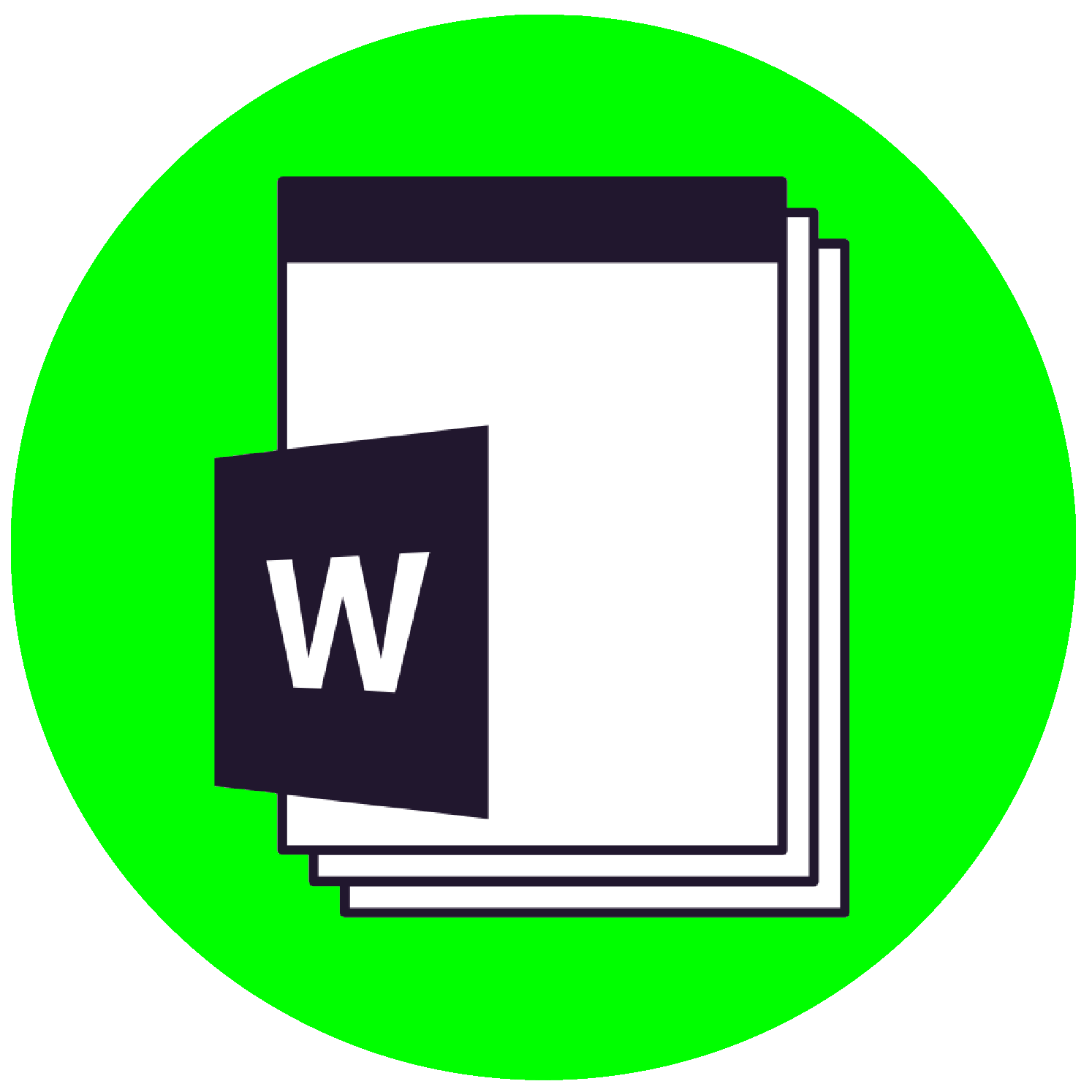 A decorative image of a Microsoft Word file