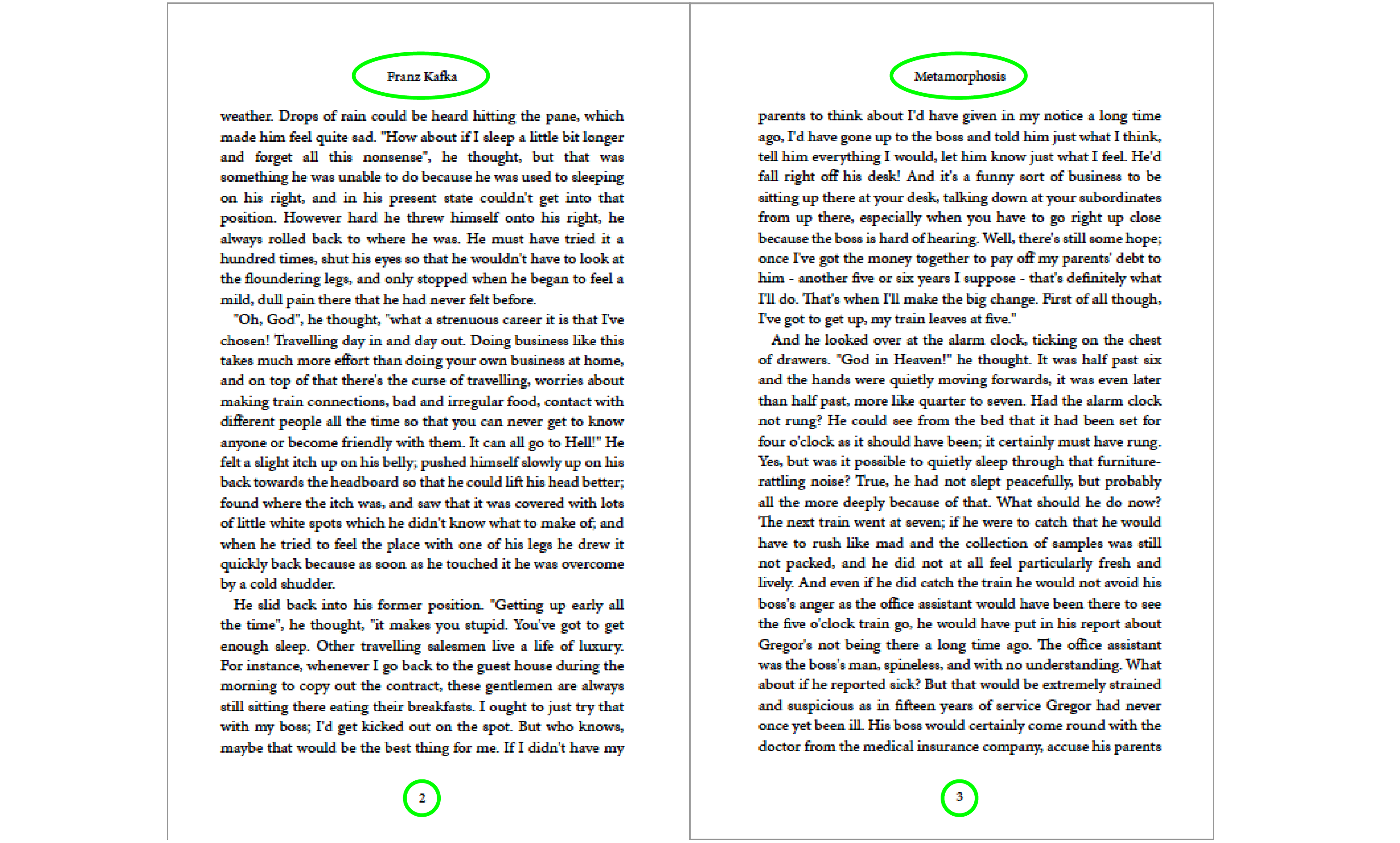 A PDF spread that highlights the automatically-generated running header text and page numbers